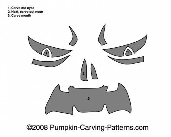 Angry Monster Pumpkin Carving Pattern