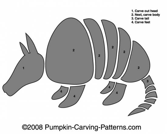 Armando the Armadillo Pumpkin Carving Pattern
