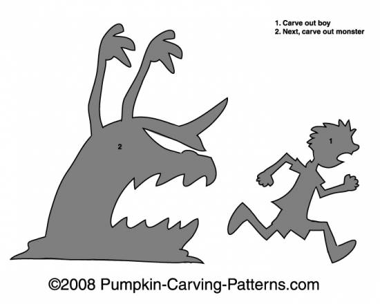 Boy Eating Monster Pumpkin Carving Pattern