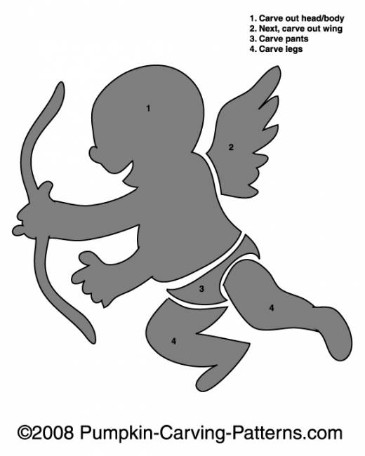 Cupid Pumpkin Carving Pattern