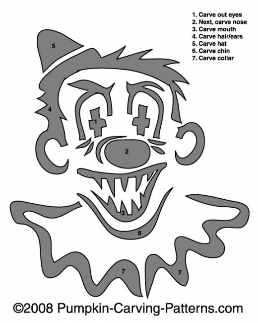 Frightening Clown Pumpkin Carving Pattern