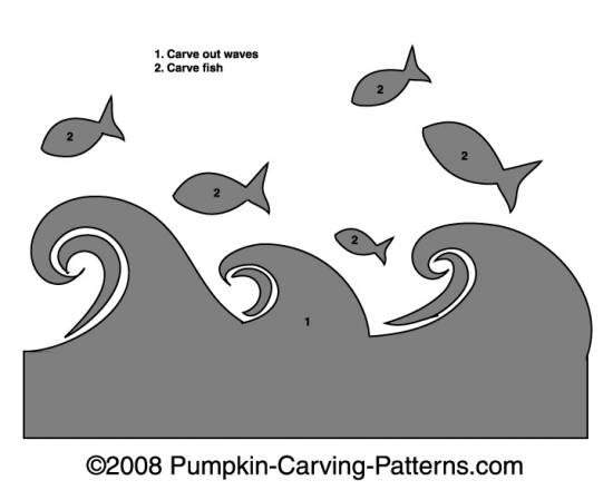 Jumping Fish Pumpkin Carving Pattern