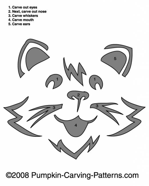 Kitty Cat Pumpkin Carving Pattern