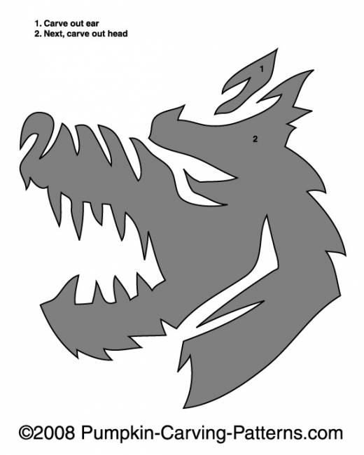 Rabid Werewolf Pumpkin Carving Pattern