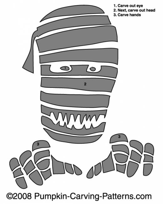 Scary Mummy Pumpkin Carving Pattern