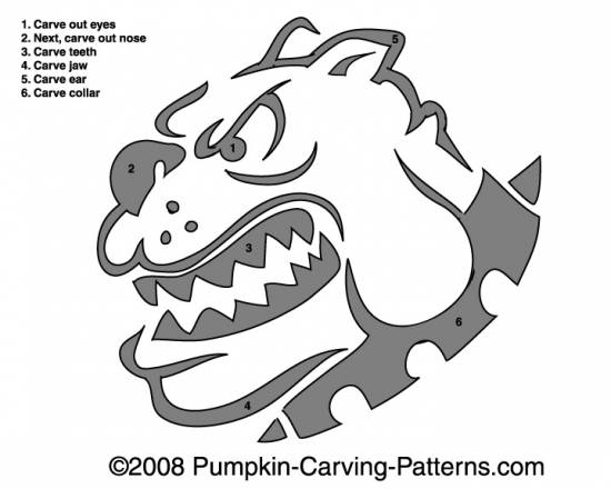 Vicious Bulldog Pumpkin Carving Pattern