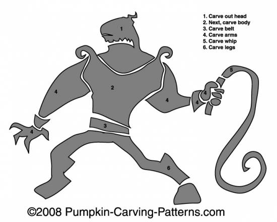 Whipping Warrior Pumpkin Carving Pattern